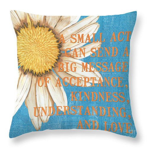 Daisy Throw Pillow featuring the painting Dictionary Florals 4 by Debbie DeWitt