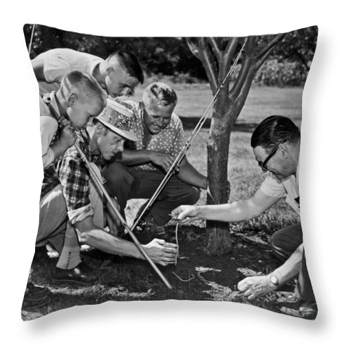 1954 Throw Pillow featuring the photograph Digging Worms For Fishing by Underwood Archives