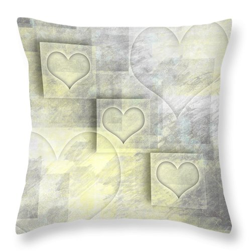 Abstract Throw Pillow featuring the photograph Digital-art Hearts II by Melanie Viola