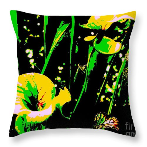 Digital Throw Pillow featuring the photograph Digital Green Yellow Abstract by Eric Schiabor