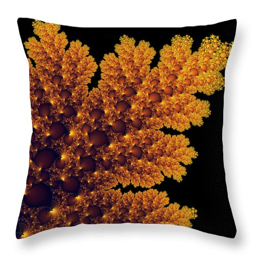 Golden Throw Pillow featuring the digital art Digital Warm Golden Fractal Leaf Black Background by Matthias Hauser