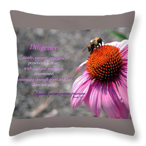 Bumblebee Throw Pillow featuring the photograph Diligence by Kim Blaylock