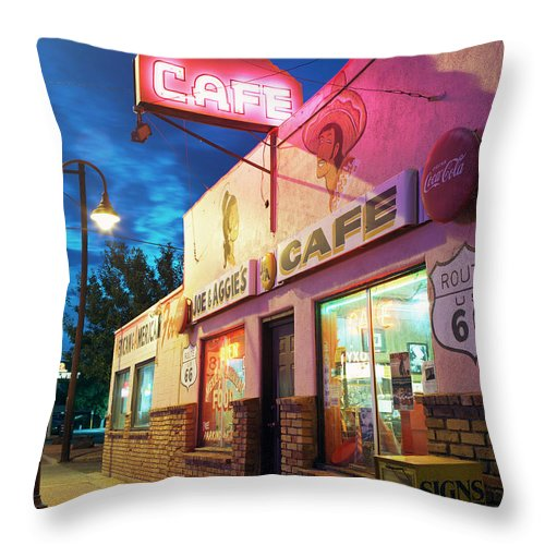 Shadow Throw Pillow featuring the photograph Diner Along Route 66 At Dusk by Gary Yeowell