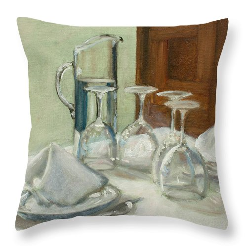 Restaurant Throw Pillow featuring the painting Dinner Table by Sarah Parks