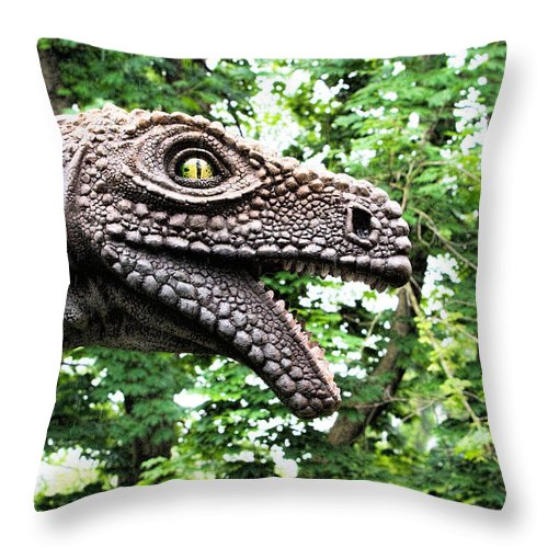 Dinosaur Throw Pillow featuring the photograph Dino In The Bronx Seven by Alice Gipson