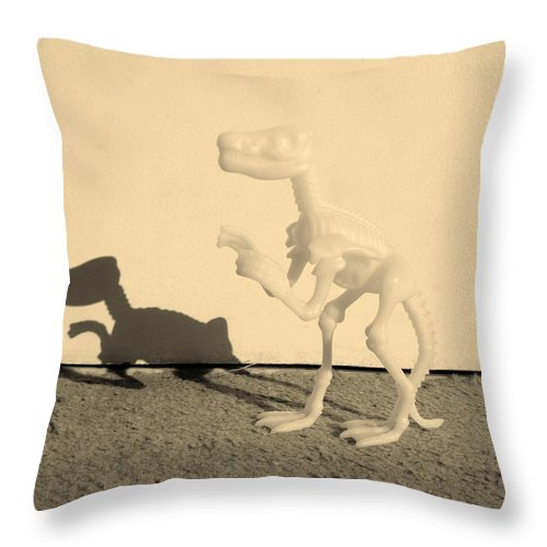 Dinosaur Throw Pillow featuring the photograph Dino Sepia by Rob Hans
