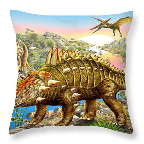 Adrian Chesterman Throw Pillow featuring the digital art Dinosaur Panorama by MGL Meiklejohn Graphics Licensing