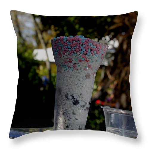 Ice Throw Pillow featuring the pyrography Dippin Those Dots by Kayla Benjamin