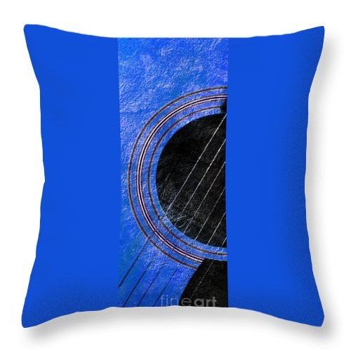 Guitar Throw Pillow featuring the photograph Diptych Wall Art - Macro - Blue Section 1 Of 2 - Giants Colors Music - Abstract by Andee Design