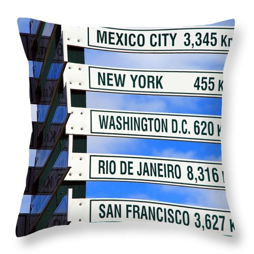 Sign Throw Pillow featuring the photograph Direction Signs by Valentino Visentini