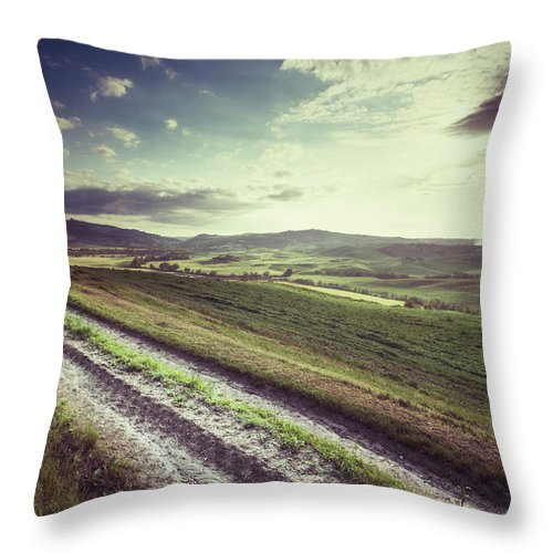 Steppe Throw Pillow featuring the photograph Dirt Track In Tuscany by Xavierarnau