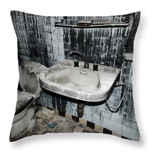 Bathroom Throw Pillow featuring the photograph Dirty Bathroom by Mats Silvan