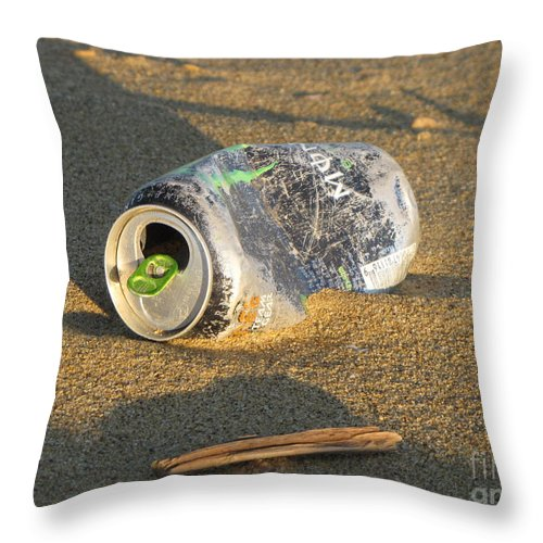 Schuminweb Throw Pillow featuring the photograph Discarded Energy Drink Can by Ben Schumin