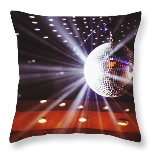 Hanging Throw Pillow featuring the photograph Disco Ball At Illuminated Nightclub by Shaun Wang / Eyeem