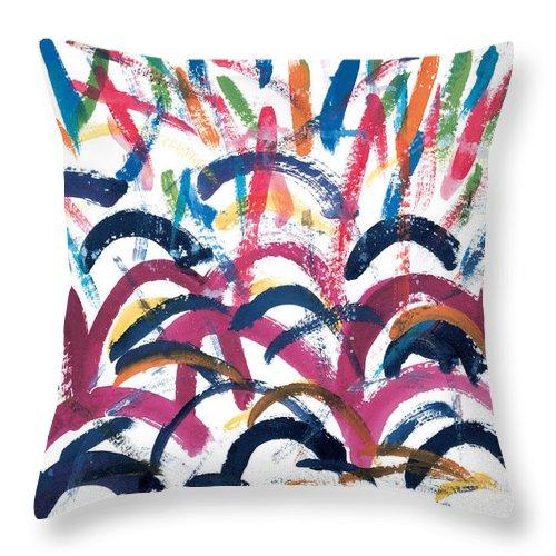 Disco Throw Pillow featuring the painting Disco by Bjorn Sjogren