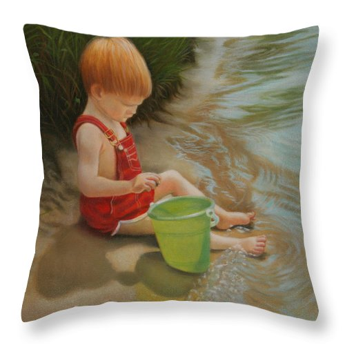 Child Throw Pillow featuring the painting Discovery by Holly Kallie