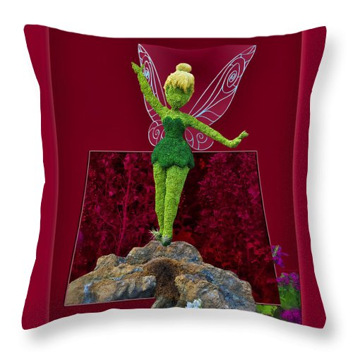 Tinker Bell Throw Pillow featuring the photograph Disney Floral Tinker Bell 01 by Thomas Woolworth