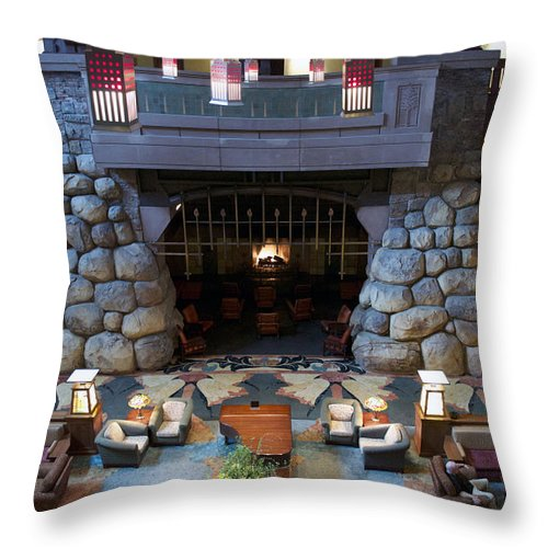 Fireplace Throw Pillow featuring the photograph Disneyland Grand Californian Hotel Fireplace 01 by Thomas Woolworth