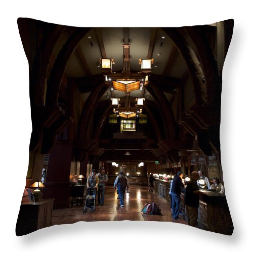 Grand Californian Hotel Throw Pillow featuring the photograph Disneyland Grand Californian Hotel Front Desk 01 by Thomas Woolworth