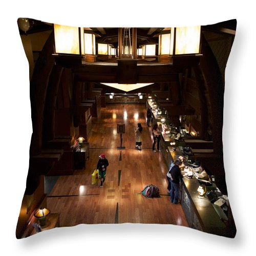 Grand Californian Hotel Throw Pillow featuring the photograph Disneyland Grand Californian Hotel Front Desk 02 by Thomas Woolworth