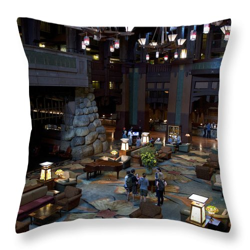 Grand Californian Hotel Throw Pillow featuring the photograph Disneyland Grand Californian Hotel Lobby 01 by Thomas Woolworth