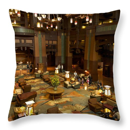 Grand Californian Hotel Throw Pillow featuring the photograph Disneyland Grand Californian Hotel Lobby 04 by Thomas Woolworth
