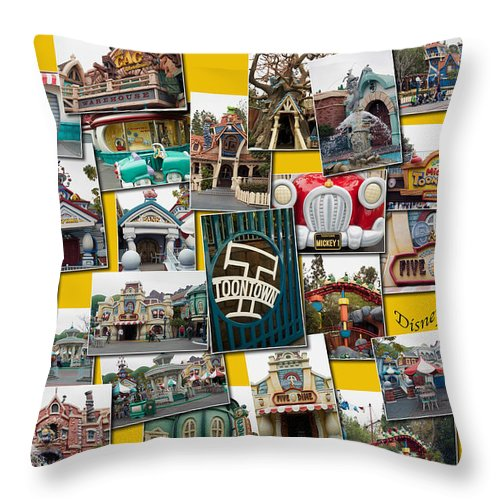 Toontown Disney Land Throw Pillow featuring the photograph Disneyland Toontown Yellow Collage by Thomas Woolworth