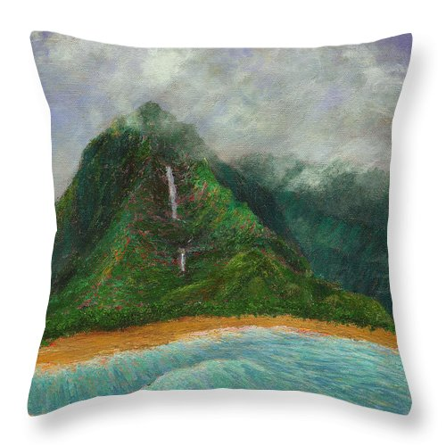 Coastal Decor Throw Pillow featuring the painting Distant Falls by Kenneth Grzesik