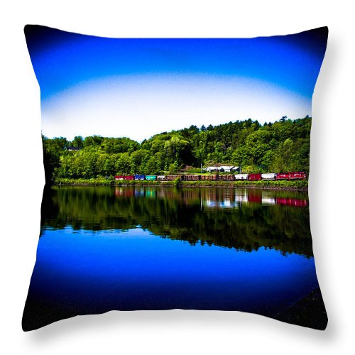 Train Throw Pillow featuring the photograph Distant Train by Sherman Perry