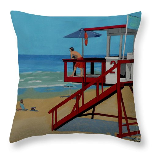 Lifeguard Throw Pillow featuring the painting Distracted Lifeguard by Anthony Dunphy