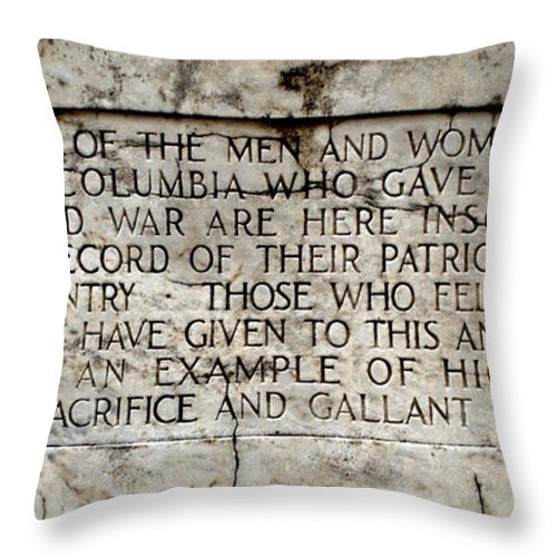 District Of Columbia War Memorial Inscription Throw Pillow featuring the photograph District Of Columbia War Memorial Inscription by Jemmy Archer