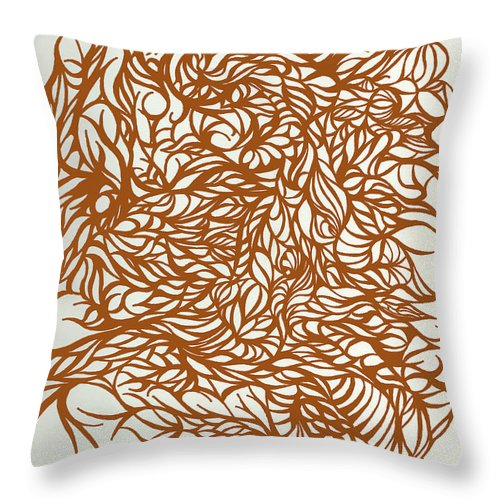 Jamie Lynn Gabrich Throw Pillow featuring the digital art Divergant Orange by Jamie Lynn