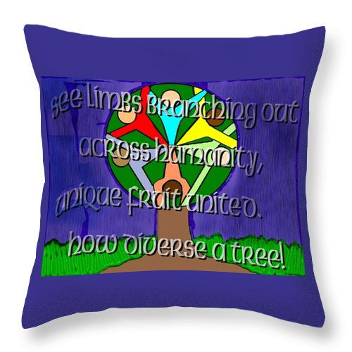 Diversity Throw Pillow featuring the painting Diversity Tree by Pharris Art