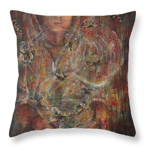 Divination Throw Pillow featuring the painting Divination by Nik Helbig