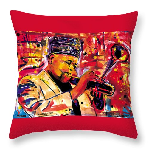 Dizzy Gillespie Throw Pillow featuring the painting Dizzy Gillespie by Everett Spruill