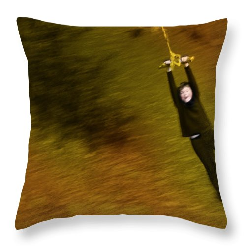Boy On A Swing Photographs Throw Pillow featuring the photograph Do Not Let Go by David Davies