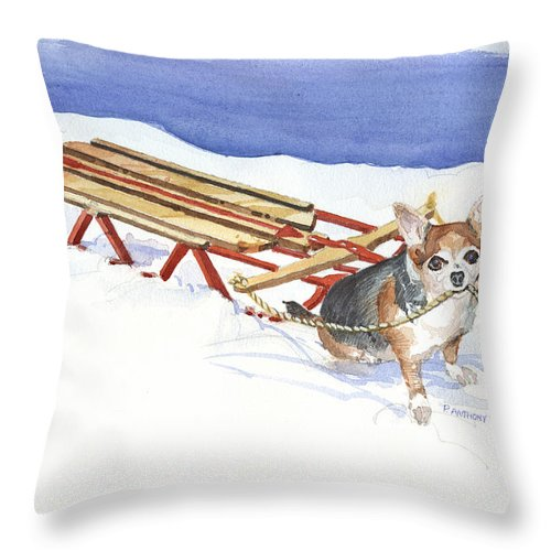 Snow Throw Pillow featuring the painting Dobby Thinking...should I by P Anthony Visco