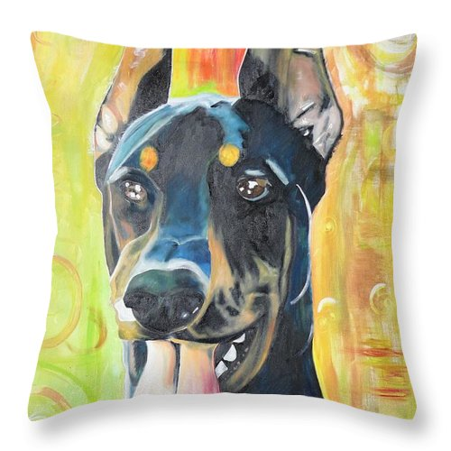 Pedigree Throw Pillow featuring the painting Doberman by PainterArtist FIN