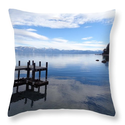 Sugar Pine Point Throw Pillow featuring the photograph Dock At Sugar Pine Point by Kristina Lammers