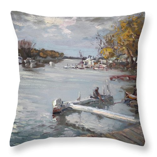 Dock Throw Pillow featuring the painting Dock At The Bay North Tonawanda by Ylli Haruni