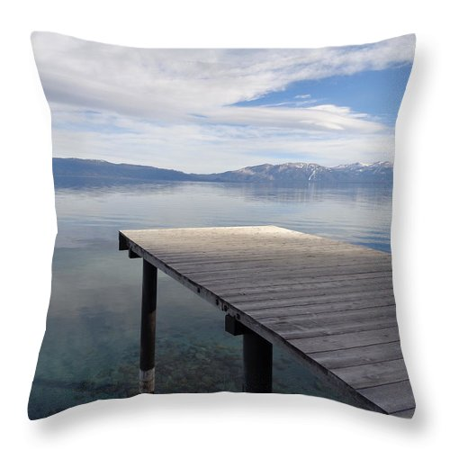 Lake Tahoe Throw Pillow featuring the photograph Dock Glowing In The Sunlight by Kristina Lammers