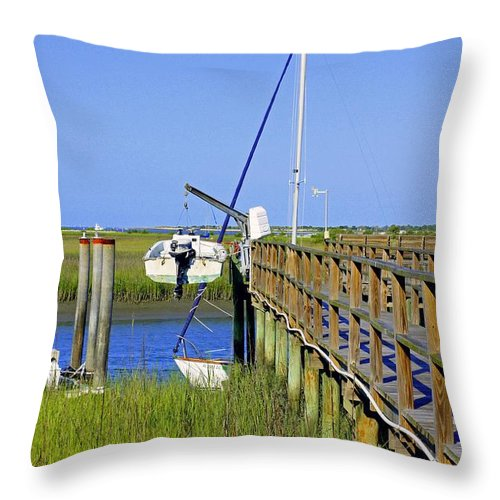 Sailboat Throw Pillow featuring the photograph Docked On The Bay by Laurie Perry
