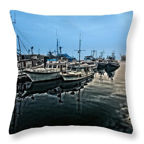 Harbor Throw Pillow featuring the photograph Docked by Rick Mousseau