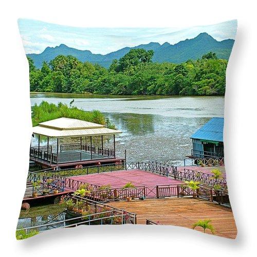 Docking Area On River Kwai In Kanchanaburi Throw Pillow featuring the photograph Docking Area On River Kwai In Kanchanaburi-thailand by Ruth Hager
