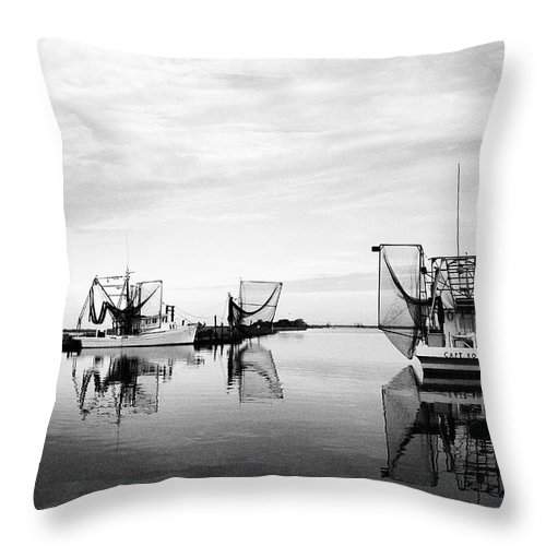 Shrimp Boat Throw Pillow featuring the photograph Dockside by Scott Pellegrin