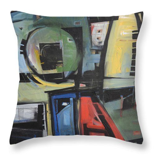 Abstract Throw Pillow featuring the painting Dockside by Tim Nyberg