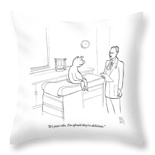 Pigs Throw Pillow featuring the drawing Doctor To Pig by Paul Noth