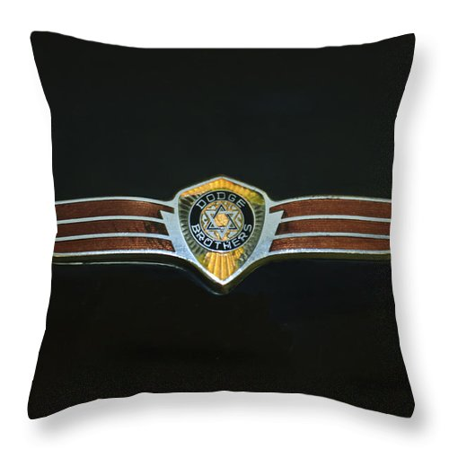 Dodge Brothers Emblem Throw Pillow featuring the photograph Dodge Brothers Emblem by Jill Reger