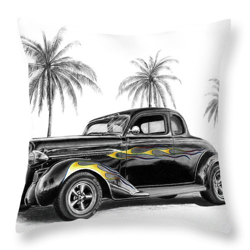 1936 Dodge Coupe Throw Pillow featuring the drawing Dodge Coupe by Peter Piatt