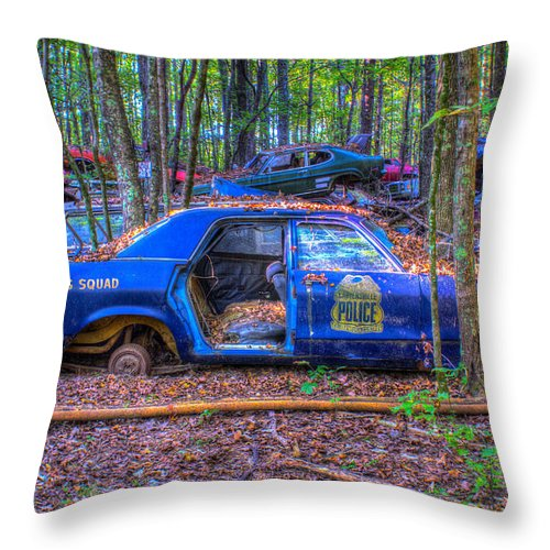 Dodge Throw Pillow featuring the photograph Dodge Polara Police Vehicle by Douglas Barnett